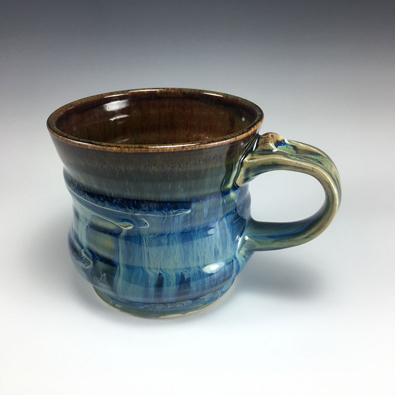 Blue Drippy Mug with thumbrest