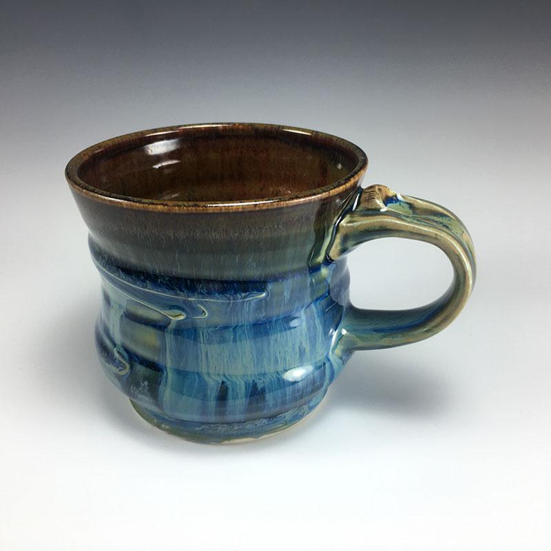 Blue Drippy Mug with thumbrest