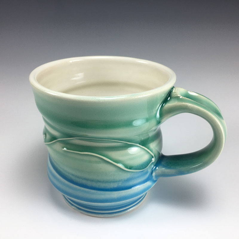 Green Blue mug w/ thumbrest