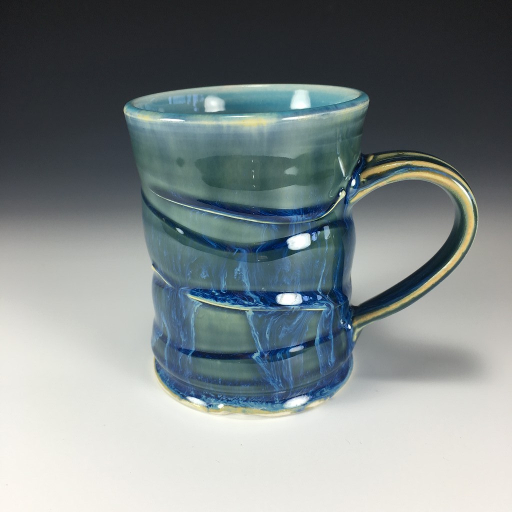 Large Drippy Blue Mug