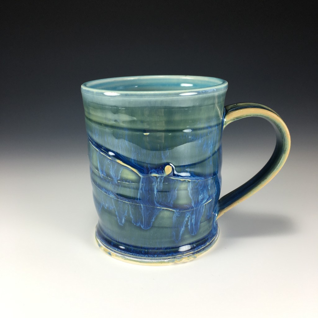 Extra Large Drippy Blue Mug