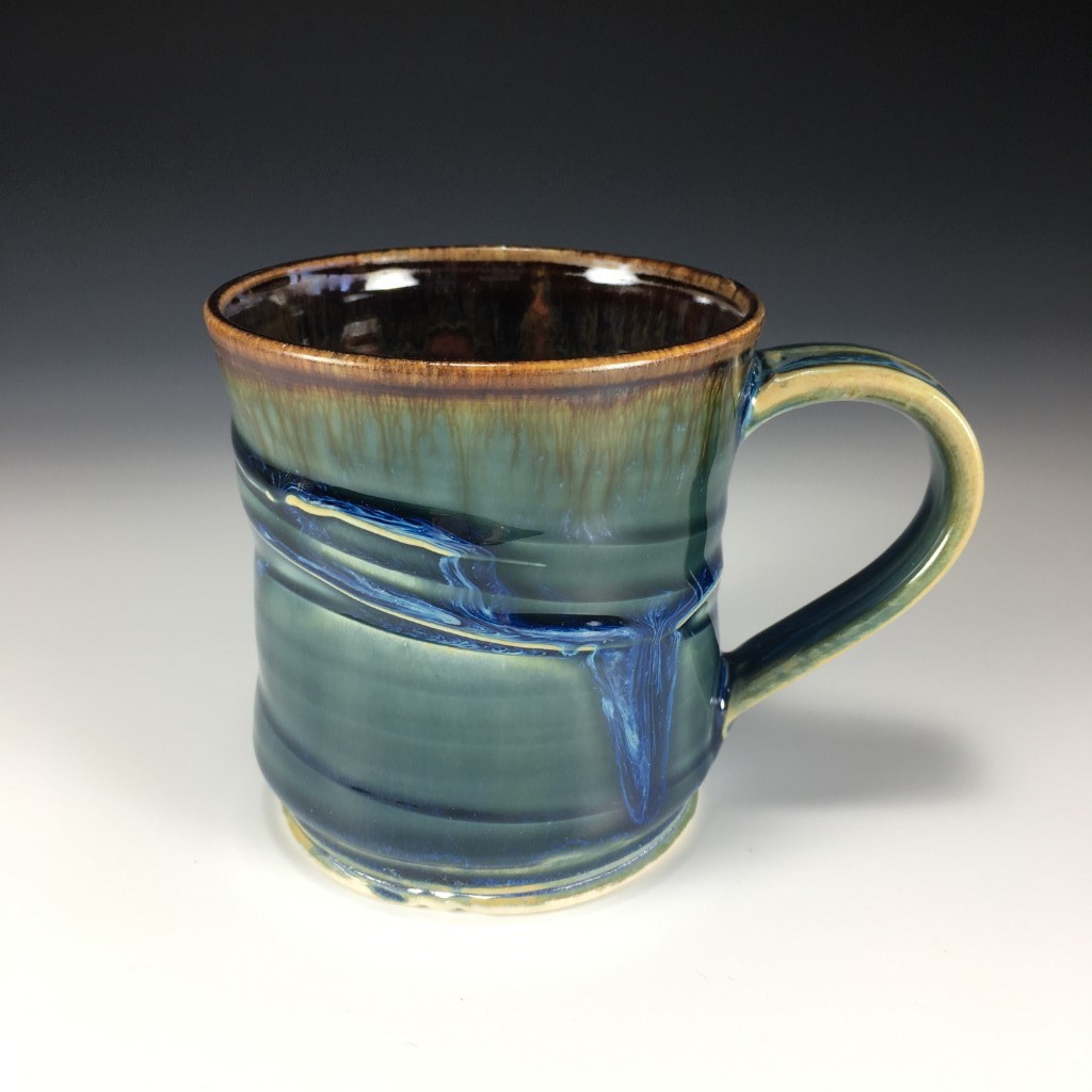 Large Drippy Blue and Brown mug