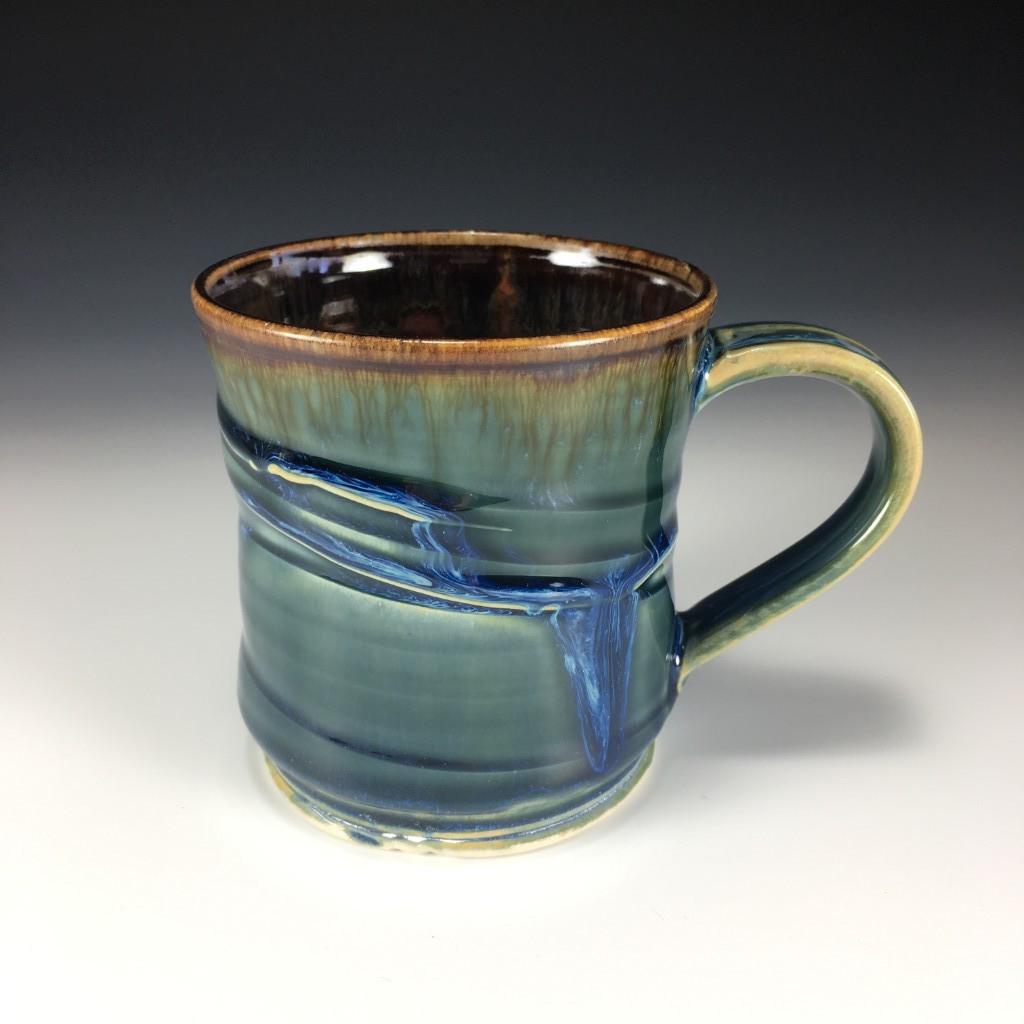 Large Drippy Blue and Brown mug