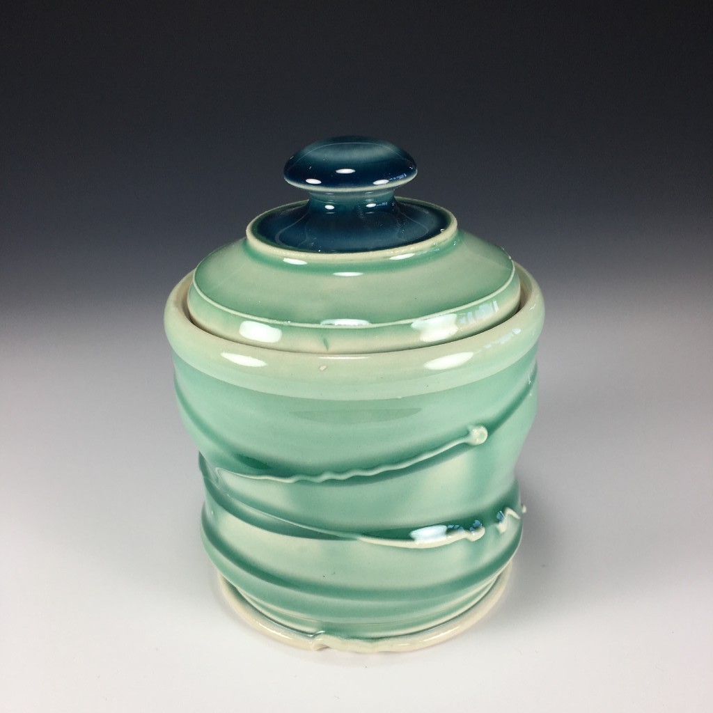 Blue Green Sugar Dish
